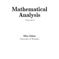 Mathematical Analysis Volume I<br />