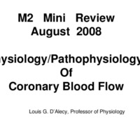 Physiology/ Pathophysiology of Coronary Blood Flow